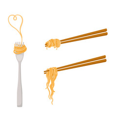 Flat asian noodle on sticks fork set vector