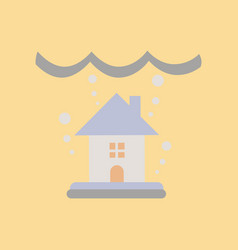 Flat icon on stylish background flood house vector