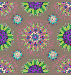 Floral pattern in doodle style with flowers and vector