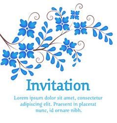 Flowers invitation or wedding card vector