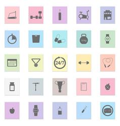 gym set black icon on color sticker vector image vector image