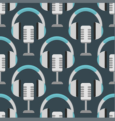 headphones background hip hop seamless vector image