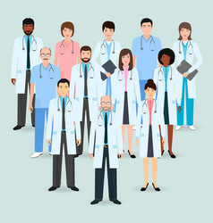 hospital staff group of twelve men and women vector image vector image