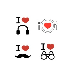 I love icons vector image