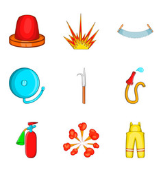 Ignition timing icons set cartoon style vector