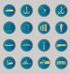 Industrial and logistic blue icons vector image