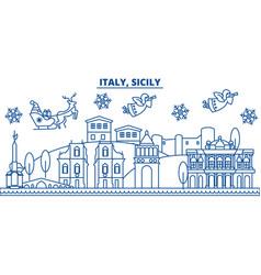 Italy sicily winter city skyline merry christmas vector