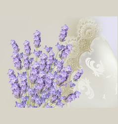 Lavender delicate lace card springtime summer vector