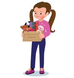 Little girl with a box of donations vector