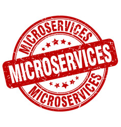 Microservices red grunge stamp vector