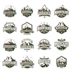Mountain outdoor icons set vector