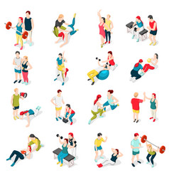 Personal trainer sport icons vector