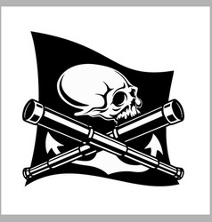 Pirates emblem - telescopes and skull black flag vector