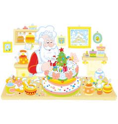 Santa claus cooking a cake vector