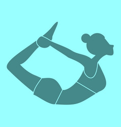 Silhouette of bow pose yoga posture vector