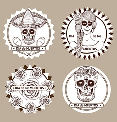 Sketch mexican dia de los muertos set of stickers vector