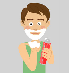 teenager boy shaving showing foam vector image