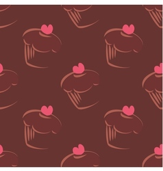 Tile cupcake brown pattern vector