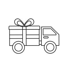 Truck with gift isolated icon vector