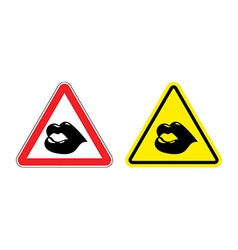 Warning sign attention kiss hazard yellow sign vector