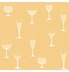 Wine glasses with champagne on yellow background vector image