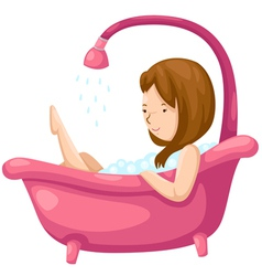 Woman bathing in bathtub vector