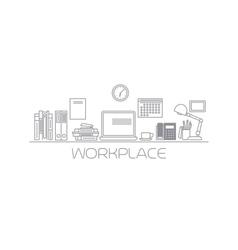 Workplace mono color line vector