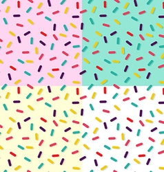Seamless background set with cake decoration vector image
