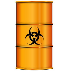 Orange barrel with bio hazard sign vector
