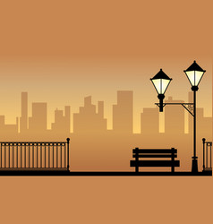 Landscape of chair with street lamp silhouette vector