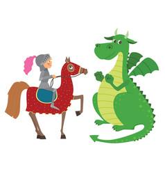 knight on horseback and dragon vector image