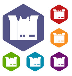 Cat in a cardboard box icons set hexagon vector