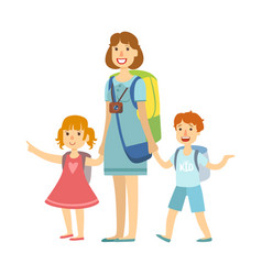 mother with her children going for summer vector image