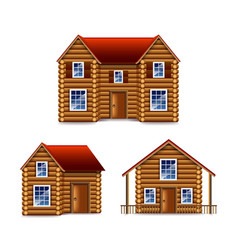 Wooden house set isolated on white vector