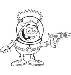 Cartoon alien with a ray gun vector