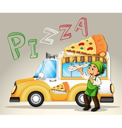 Chef and pizza truck vector image