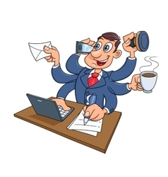 Busy businessman working vector