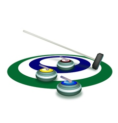 A collection of curling stones on ice ring vector