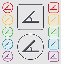 Angle 45 degrees icon sign symbol on the round and vector
