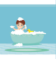 Baby boy taking bath and playing vector