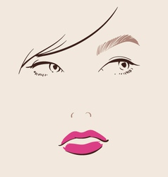 beautiful woman face with red lips make up vector image vector image