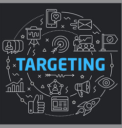 Black line flat circle targeting vector