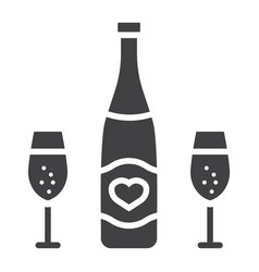 Bottle of champagne with glasses glyph icon vector
