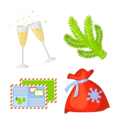 Christmas Icon Set Collection cartoon New vector image