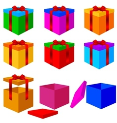 Collection of colorful box christmas gifts with vector image vector image
