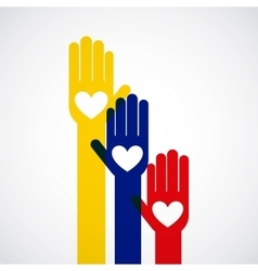 Colombian peace hands symbol vector