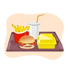 Common fast food snacks on tray vector image vector image