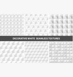 Decorative white seamless textures vector