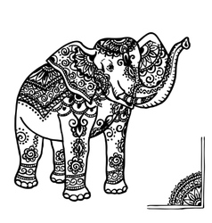Elephant and mehendi ornament vector
