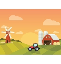 Farm with a mill and tractor in the green hills vector